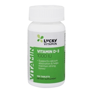 LuckyVitamin - Vitamine D3 1000 unité internationale - 100 comprimés