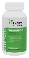 LuckyVitamin - Vitamin D-3 5000 IU - 365 Softgels (048107130879)