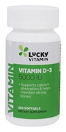LuckyVitamin - Vitamin D-3 5000 IU - 200 Softgels, from category: Vitamins & Minerals