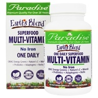 Paradise Herbs - Earth's Blend One Daily Superfood Multivitamin with No Iron - 60 Vegetarian Capsules