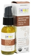 Image of Aura Cacia - Facial Oil Serum Nighttime Baobab Vanilla & Vetiver - 1 oz.