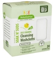 BabyGanics - Self-Foaming Cleansing Washcloths Soak N' Suds Fragrance Free - 24 Cloth(s) by BabyGanics