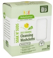 BabyGanics - Self-Foaming Cleansing Washcloths Soak N' Suds Fragrance Free - 24 Cloth(s) (813277012788)