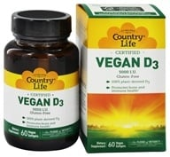 Country Life - Vegan D3 5000 IU - 60 Vegetarian Softgels - $16.79