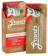Grants of Australia - Natural Toothpaste Orange Cinnamon with Neem Oil - 10 x .10 oz. Packets by Grants of Australia