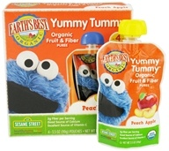 Earth's Best - Yummy Tummy Organic Fruit & Fiber Puree Peach Apple - 4 Pouches CLEARANCED PRICED - $4.49