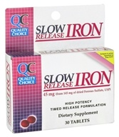 Quality Choice - Slow Release Iron 45 mg. - 30 Tablets, from category: Vitamins & Minerals