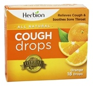 Herbion - All Natural Cough Drops Orange - 18 Drops, from category: Nutritional Supplements