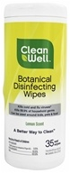 CleanWell - Botanical Disinfecting Wipes Lemon Scent - 35 Wipe(s) - $2.69