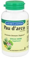 Nature's Answer - Pau D'Arco Inner Bark Single Herb Supplement - 90 Vegetarian Capsules - $5.73