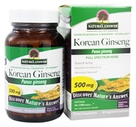 Nature's Answer - Korean Ginseng Root Single Herb Supplement - 50 Vegetarian Capsules