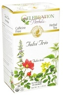 Celebration Herbals - Organic Caffeine Free Tulsi Trio Herbal Tea - 24 Tea Bags by Celebration Herbals