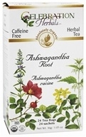 Celebration Herbals - Organic Caffeine Free Ashwagandha Root Herbal Tea - 24 Tea Bags (628240251046)