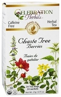 Celebration Herbals - Organic Caffeine Free Chaste Tree Berries Herbal Tea - 24 Tea Bags (628240201140)