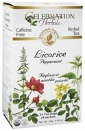 Celebration Herbals - Organic Caffeine Free Licorice Peppermint - 24 Tea Bags (628240201607)