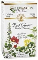 Image of Celebration Herbals - Organic Caffeine Free Red Clover Herb & Blossom Herbal Tea - 24 Tea Bags