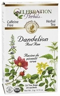 Celebration Herbals - Organic Caffeine Free Dandelion Root Raw Herbal Tea - 24 Tea Bags (628240201263)