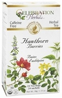 Celebration Herbals - Organic Caffeine Free Hawthorn Berries Herbal Tea - 24 Tea Bags