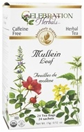 Celebration Herbals - Organic Caffeine Free Mullein Leaf Herbal Tea - 24 Tea Bags (628240251657)