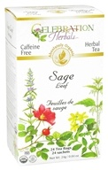 Celebration Herbals - Organic Caffeine Free Sage Leaf Herbal Tea - 24 Tea Bags (628240201782)