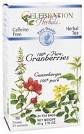 Celebration Herbals - Organic Caffeine Free 100% Pure Cranberries Herbal Tea - 24 Tea Bags