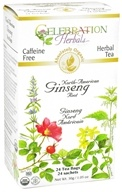 Celebration Herbals - Organic Caffeine Free North-American Ginseng Root - 24 Tea Bags (628240201423)