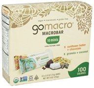 GoMacro - MacroBar Minis Sunflower Butter & Chocolate/Granola & Coconut - 10 x 0.9 oz. Bars