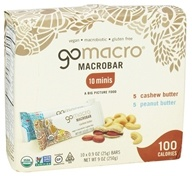 GoMacro - MacroBar Minis Peanut Butter/Cashew Butter - 10 x 0.9 oz. Bars, from category: Health Foods