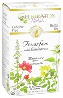 Celebration Herbals - Organic Caffeine Free Feverfew with Lemongrass Herbal Tea - 24 Tea Bags (628240201386)