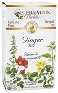 Celebration Herbals - Organic Caffeine Free Ginger Root Herbal Tea - 24 Tea Bags (628240201393)