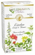 Celebration Herbals - Organic Caffeine Free Linden Leaf & Flower Herbal Tea - 24 Tea Bags (628240251596)