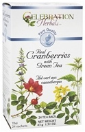 Celebration Herbals - Pure Quality Real Cranberries with Green Tea - 24 Tea Bags by Celebration Herbals