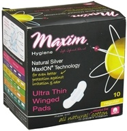Maxim Hygiene - Natural Silver MaxION Technology Ultra Thin Winged Pads Regular - 10 Count