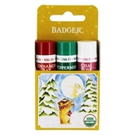 Badger - Organic Classic Holiday Lip Balm Gold Box - 3 Pack