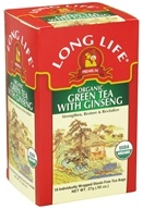 Long Life Teas - Organic Green Tea with Ginseng - 18 Tea Bags - $4.29