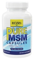Image of Natural Balance - Pure MSM with Vitamin C 750 mg. - 120 Capsules (Formerly Trimedica)