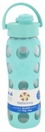 Lifefactory - Glass Beverage Bottle With Silicone Sleeve and Flip Top Cap Turquoise - 22 oz. (741360828995)