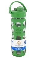 Image of Lifefactory - Glass Beverage Bottle With Silicone Sleeve and Flip Top Cap Grass Green - 16 oz.