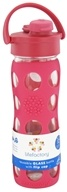 Image of Lifefactory - Glass Beverage Bottle With Silicone Sleeve and Flip Top Cap Raspberry - 16 oz.