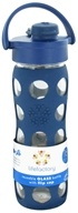 Image of Lifefactory - Glass Beverage Bottle With Silicone Sleeve and Flip Top Cap Midnight Blue - 16 oz.