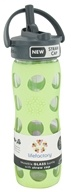 Lifefactory - Glass Beverage Bottle With Silicone Sleeve and Straw Cap Spring Green - 16 oz.