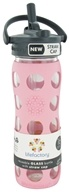 Lifefactory - Glass Beverage Bottle With Silicone Sleeve and Straw Cap Peony - 16 oz. (741360828674)