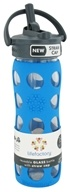Lifefactory - Glass Beverage Bottle With Silicone Sleeve and Straw Cap Ocean Blue - 16 oz. by Lifefactory