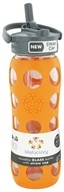 Lifefactory - Glass Beverage Bottle With Silicone Sleeve and Straw Cap Orange - 22 oz.