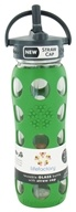 Lifefactory - Glass Beverage Bottle With Silicone Sleeve and Straw Cap Grass Green - 22 oz. by Lifefactory