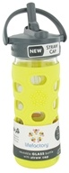 Image of Lifefactory - Glass Beverage Bottle With Silicone Sleeve and Straw Cap Lemon - 12 oz.