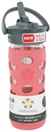 Image of Lifefactory - Glass Beverage Bottle With Silicone Sleeve and Straw Cap Coral - 12 oz.