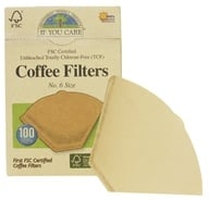 If You Care - Coffee Filters #6 Size Cone Style Unbleached Totally Chlorine-Free (TCF) - 100 Filter(s) by If You Care