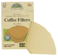 If You Care - Coffee Filters #6 Size Cone Style Unbleached Totally Chlorine-Free (TCF) - 100 Filter(s), from category: Housewares & Cleaning Aids
