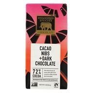Endangered Species - Dark Chocolate Bar 72% Cocoa Cacao Nibs - 3 oz.